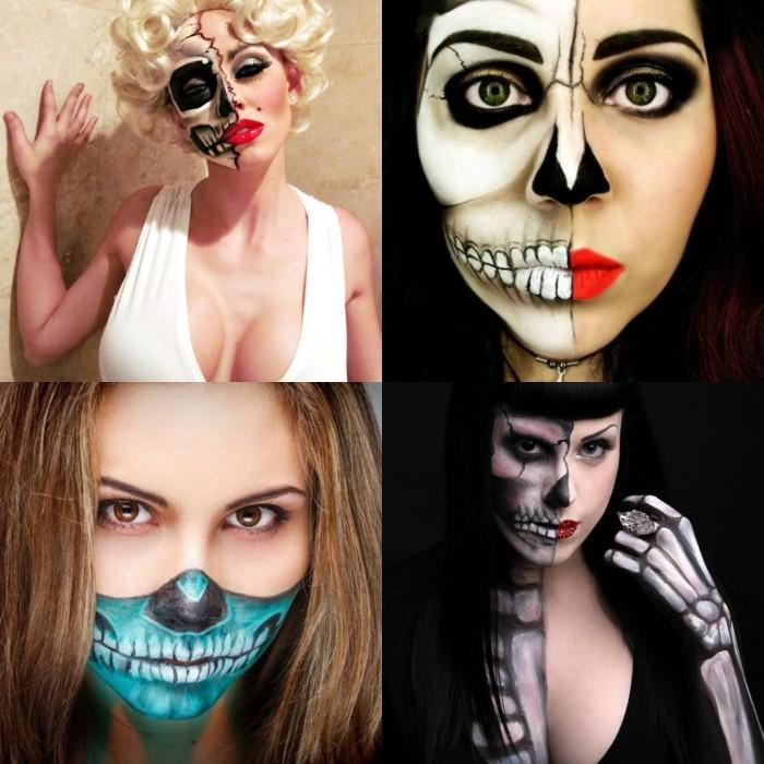 zombie schminken, vier bilder zum inspirieren, marilyn als gruseliges gesicht gestalten, halbes gesicht geschminkt