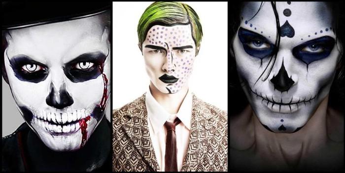 halloween kostüm männer ideen in bildern, drei bilder, collage, comics helden