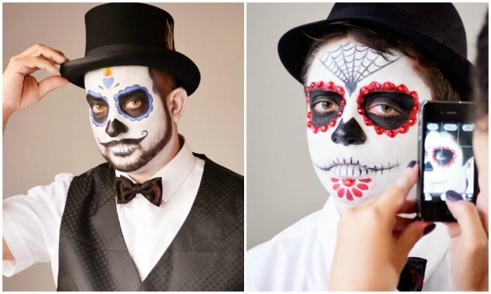 halloween make up einfach ideen mexikanischer totenkopf mit blumenmotive, schminke für kinder oder männer