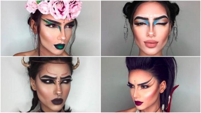 eine frau, vier verschiedene looks durch schminke, zombie schminken oder die eigene wilde natur vorschauen