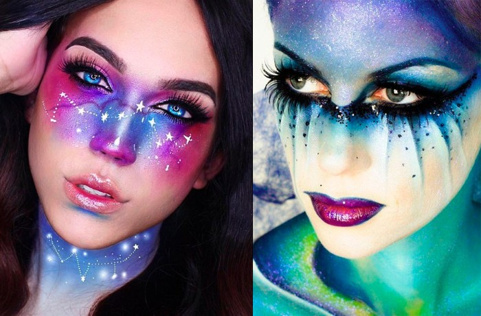 zombie schminken, präzises makeup für frauen, kosmos aufs gesicht gestalten, schöne schminkfarben