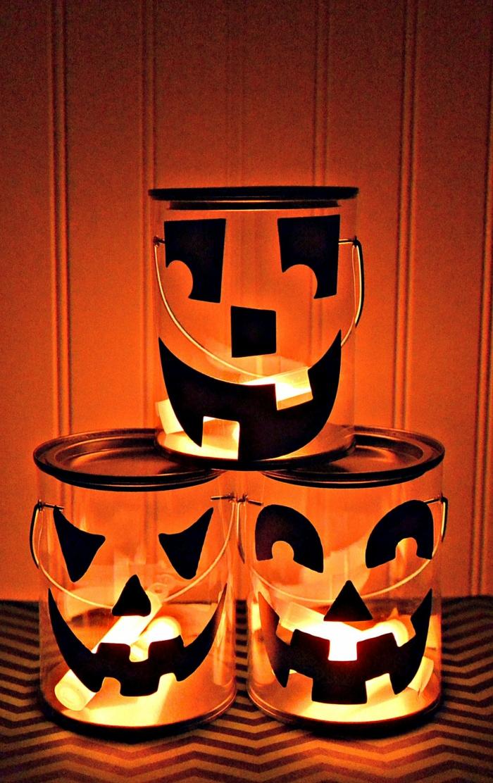 Halloween Laterne mit gruseligen Ungeheuer Gesichter, Kinderlaterne basteln