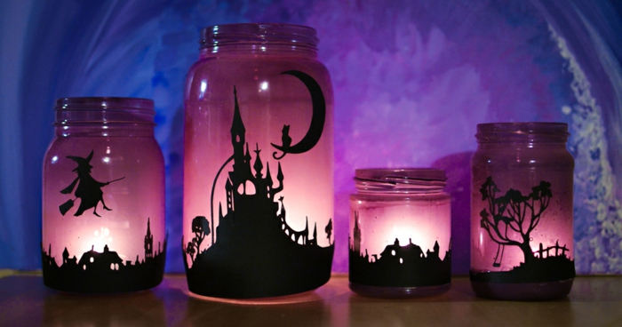 gruselige Laternen mit verschiedenen Szenen, Kinderlaterne basteln zu Halloween