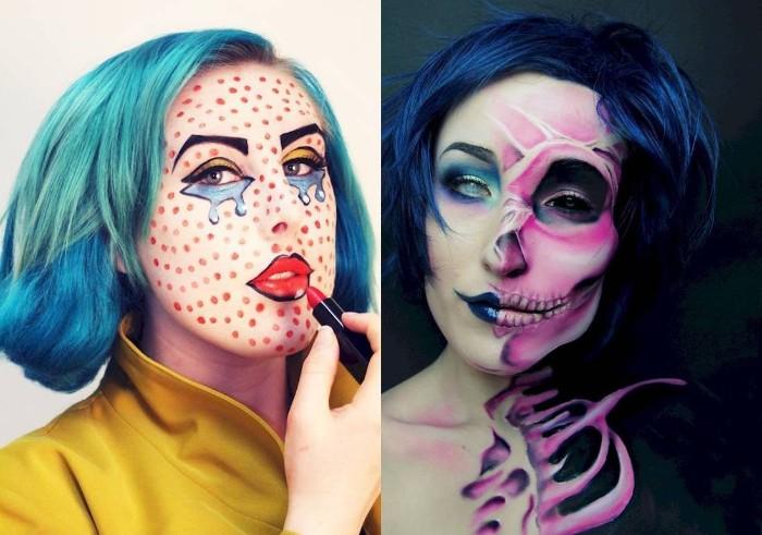 halloween kostüm selber machen, sich mit krassen farben zu halloween schminken, blaue haare, cartoon heldin und zombie