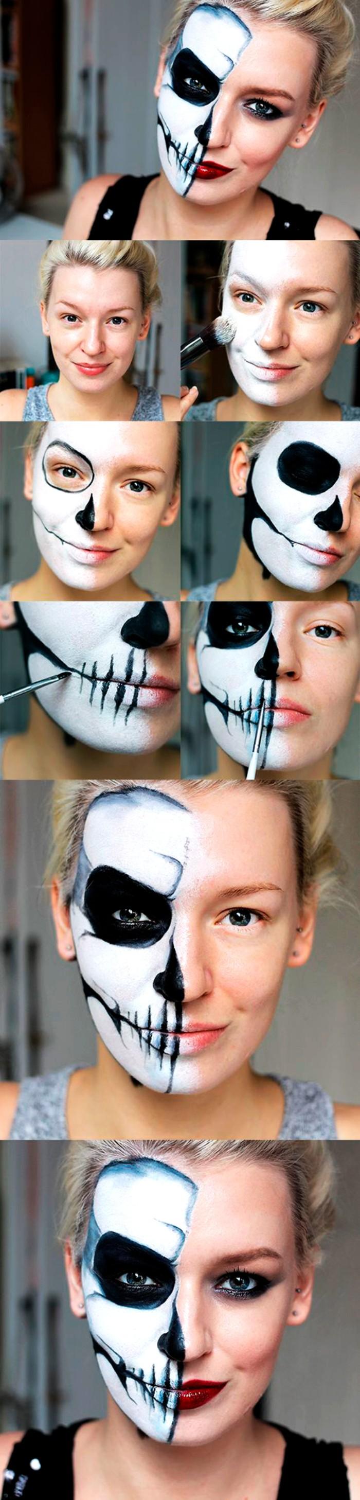 eine bilderanleitung für halb geschminktes gesicht vom totenkopf, halloween kostüm selber machen