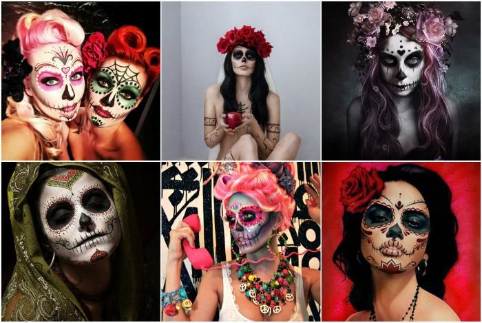 halloween kostüm selber machen, sechs bilder mit frauen, inspiriert vom mexikanischen totenkopf