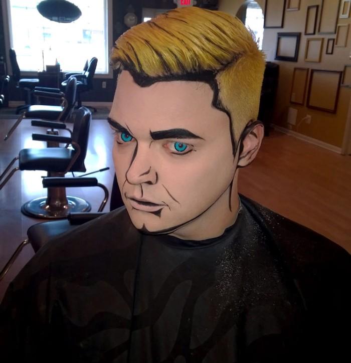 blaue augen, halloween make up einfach ein mann wie comics held geschminkt, blonde haare, schwarze gesichtskonturen