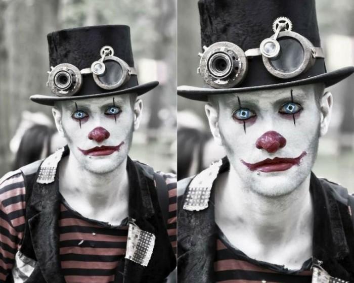 karneval schminken, halloween oder fasching ideen, schreckliche gestaltung durch künstliche linsen, weißes gesicht, effektvolle schminke