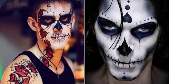 halloween ideen für männer, zombie ist besonders beliebt, zwei gesichter collage bild