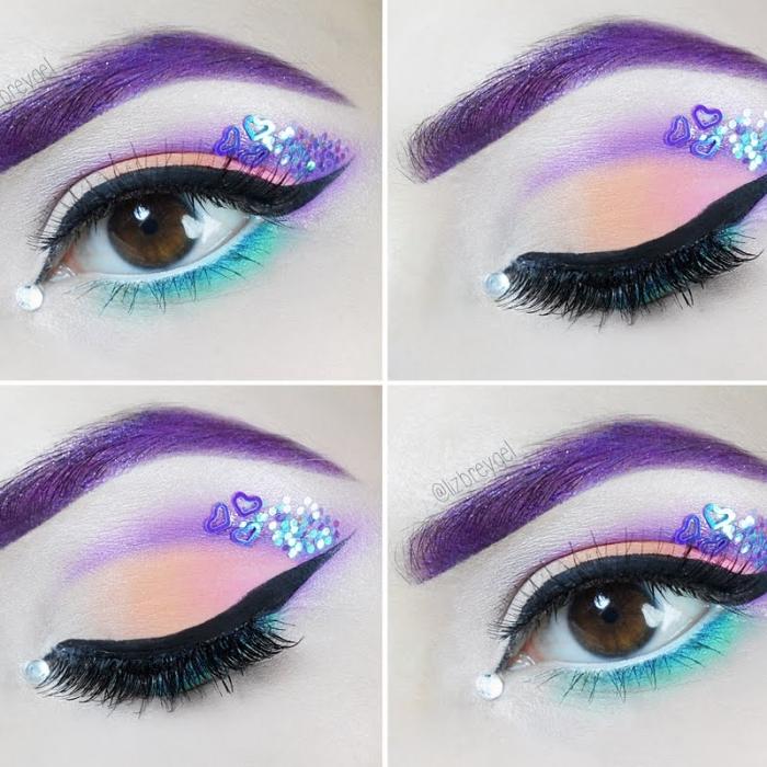 halloween schminke selber machen, make up in pastellfarben, lila augenbrauen, glitzer