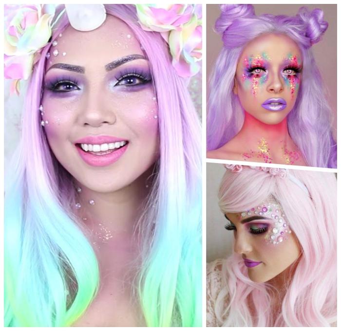 halloween schminke selber machen, professionelles make up in pastellfarben, unicorn