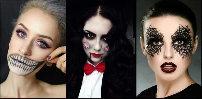 halloween kostüm selber machen, drei bilder mit ideen zum fest, puppe mit anzug unf roter fliege, spinne an den augen