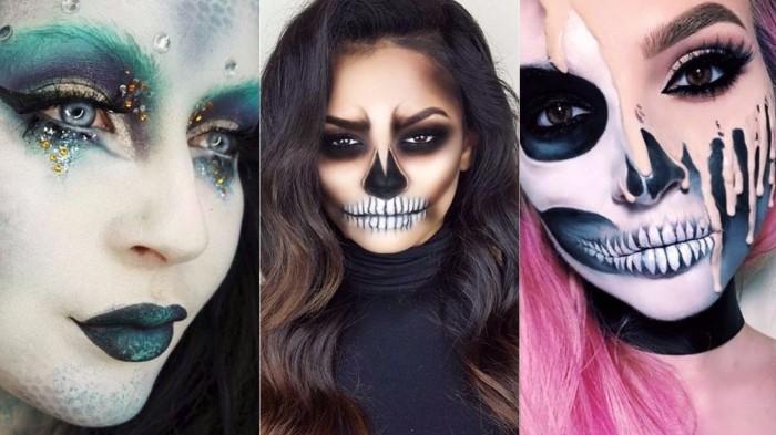 halloween kostüm selber machen, drei bilder, damenschminke, grüne gesichter, volle lippen