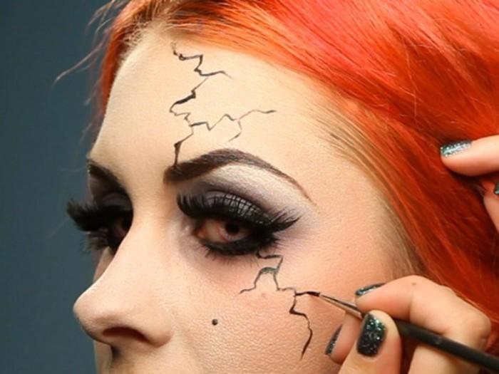 halloween schminken kinder, bilderanleitung mit schminktipps, eine dünne pinsel zu den präzisen linien verwenden