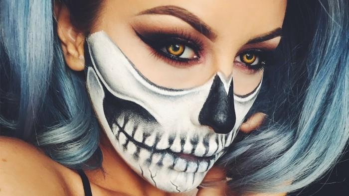 halloween schminken kinder, cartoon heldin schminkidee, maske schminken, blaugraue haare