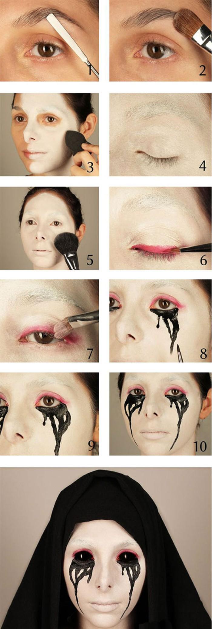 halloween schminken kinder, anleitung zu einem gruseligen look von zombie oder anderes wesen, schrittweise anleitung