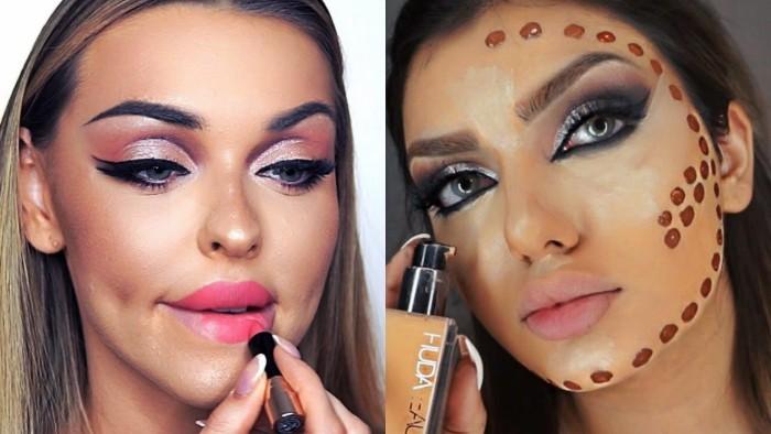 teufel schminken, schönes und feminines makeup, volle lippen, gute augenschminke