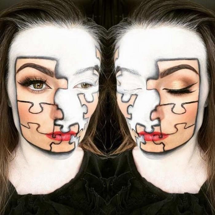 puzzle schminken halloween, das gesicht besteht aus verschiedenen teilen, schminidee