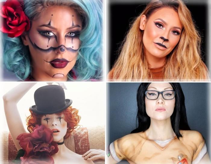 halloeen schminke für frauen in vier verschiedenen gestaltungsvarianten, clown, katze, lehrerin