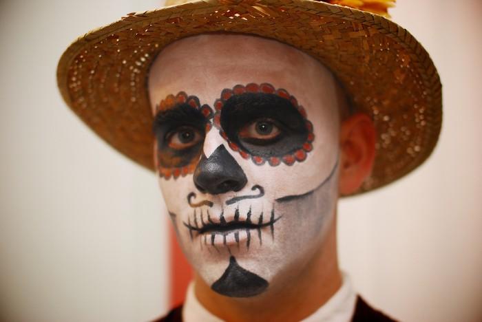 horror make up für karneval oder fest, mexikanische gesichtsmaske idee