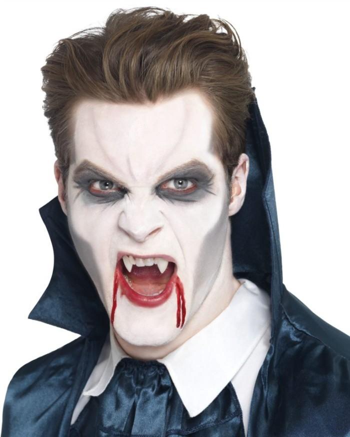 horror make up für zombie und vampir, blut an den lippen, dunkle augenringe