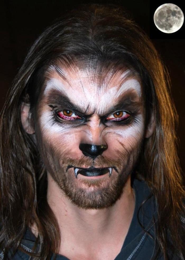horror make up der wolf der rotkäppchen getroffen hat, gruseliger halbtier halbmensch