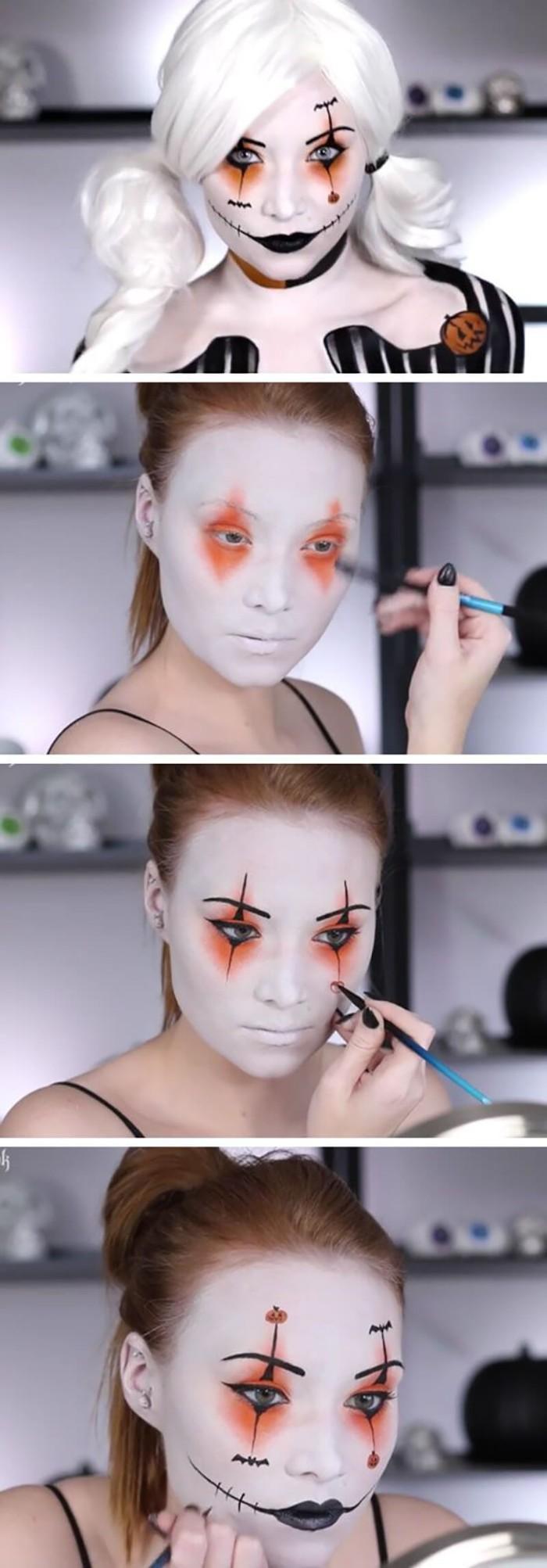 clown frau oder harley quinn schmink idee, anleitung in bildern, halloween schminktipps