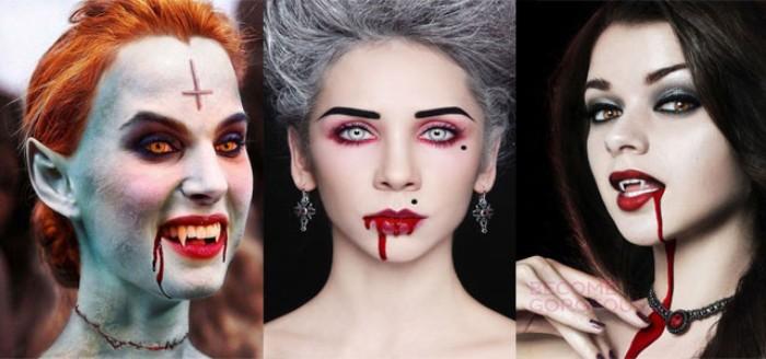 vampir schminken in drei verschiedenen varianten, damenschminke ideen schwarze haare, rote graue