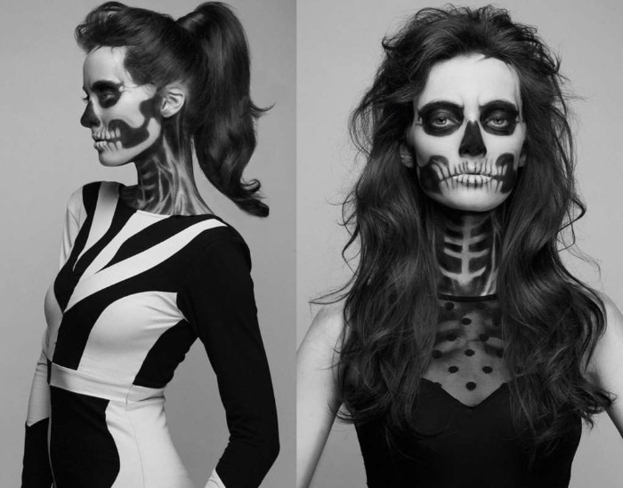 gruselige totenköpfe auf frauengesichter malen, halloween schminken