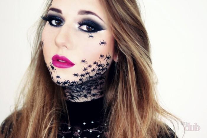 schminken halloween ideen für alle damen, kleine spinnen auf dem gesicht, rosarote lippen, lange haare, hexe verkleidung