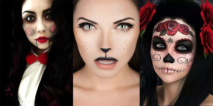 schminken halloween, schöne ideen für die damen, die präzise schminke haben wollen, rote rosen in den haaren
