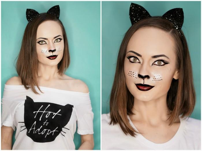 schminken halloween, weiße bluse mit schwarzer deko, katzendeko, katze auf dem gesicht schminken