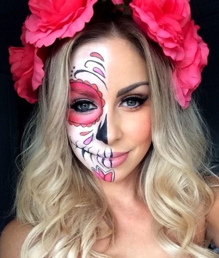 einfache halloween kostüme, inspiration von mexiko, fasching style totenkopf halbes gesicht, rosen in den haaren
