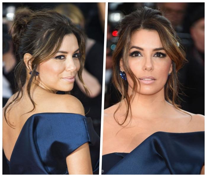 hochsteckfrisuren mittelanges haar, dunkelblaues abendkleid, eva longoria, abend make up