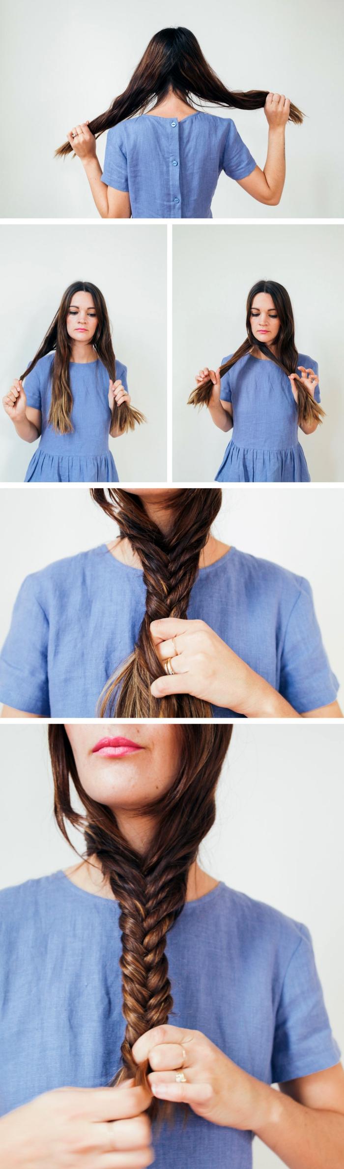 hochsteckfrisuren selber machen, blaues kleid mit knöpfen am rücken, lange haare flechten, fischgrätenzopg