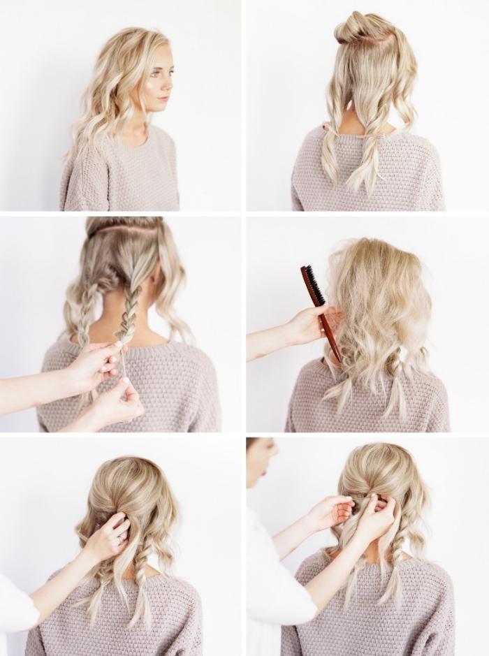 hochsteckfrisuren selber machen, haare abteilen und toupieren, lockere zöpfe flechten
