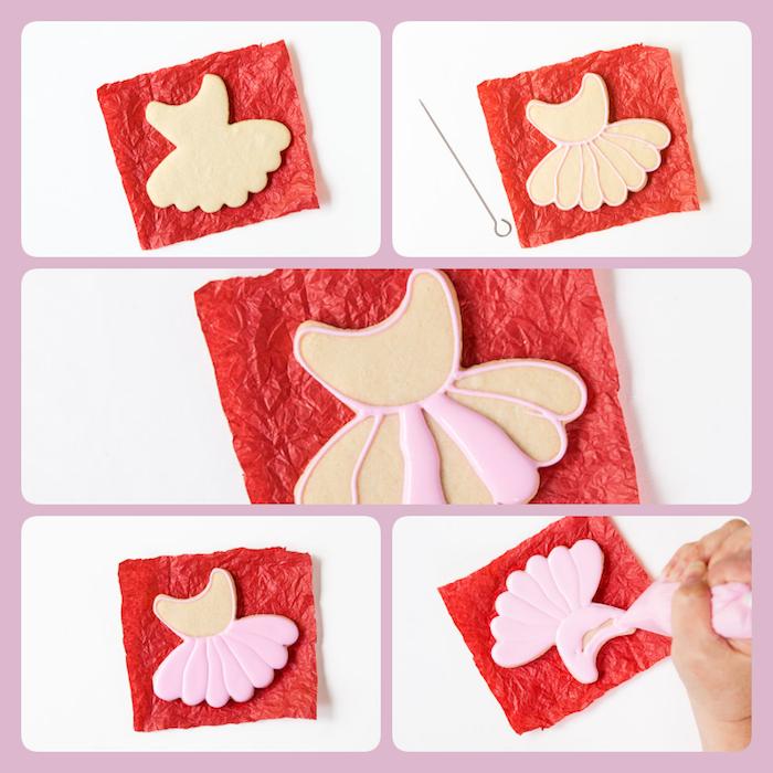 Plätzchen für Kindergeburtstag selber backen und mit Glasur dekorieren, Idee für Mädchen Party, rosafarbenes Kleid