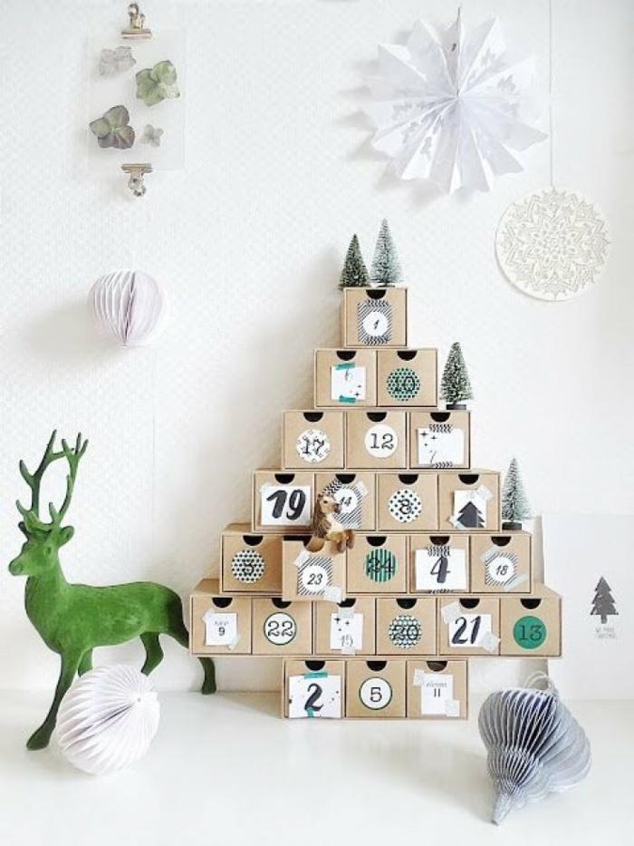 Kleine Schachteln einaufeinander mit Nummern voller kleine Geschenke, Adventskalender befüllen