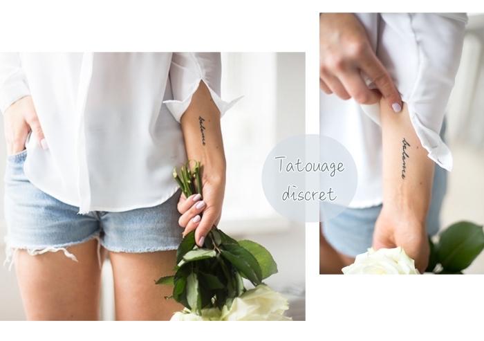 tattoo vorlagen, eine frau hält blumenstrauß in der hand, weißes hemd, jeansshorts