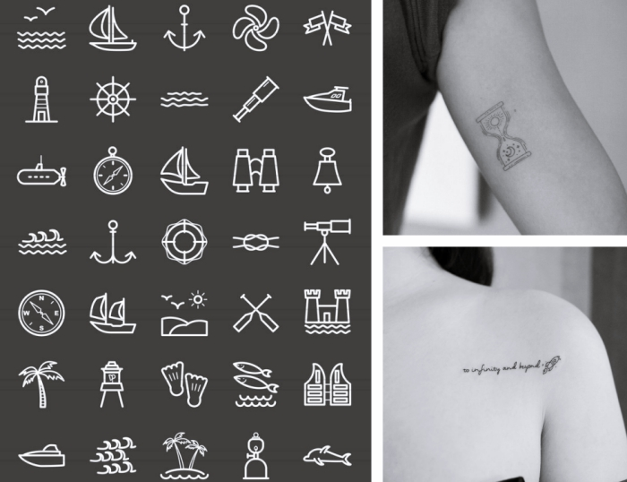viele inspirierende ideen für tattoo vorlagen, kleine bilder, abzeichnungen, zwei frauenbilder, sanduhr tattoo