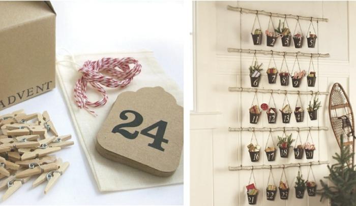 zwei Wege, wie Sie Weihnachtskalender basteln, zwei Weise, die Nummer und Päckchen zu hängen