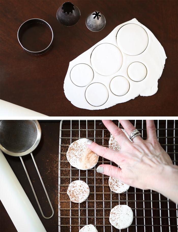 kuchen mit fondant dekorieren, kreise ausschneiden, pilzen formen, tortendeko selber machen