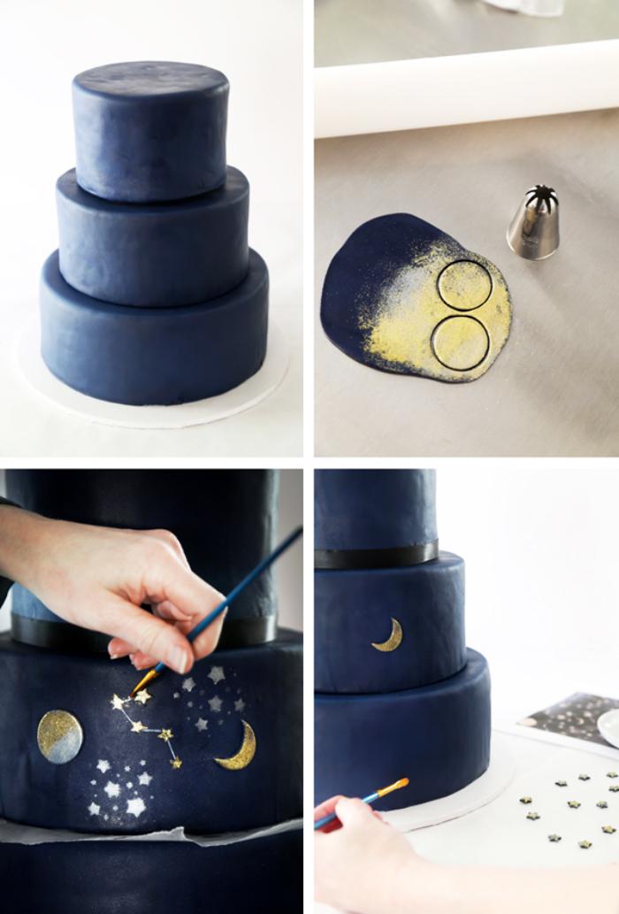 kuchen mit fondant dekorieren, kreise ausschneiden, kleine figuren, mond und sternen