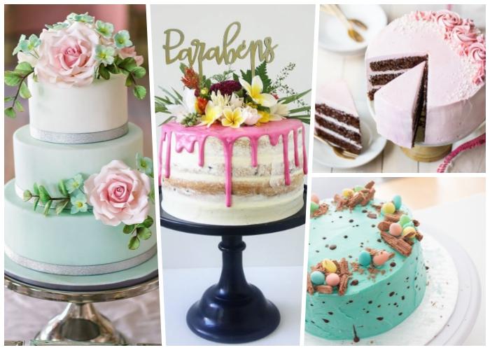 kuchen mit fondant verzieren, torte dekoriert mit rosen, schwarzes tortengestell, rosa buttercreme