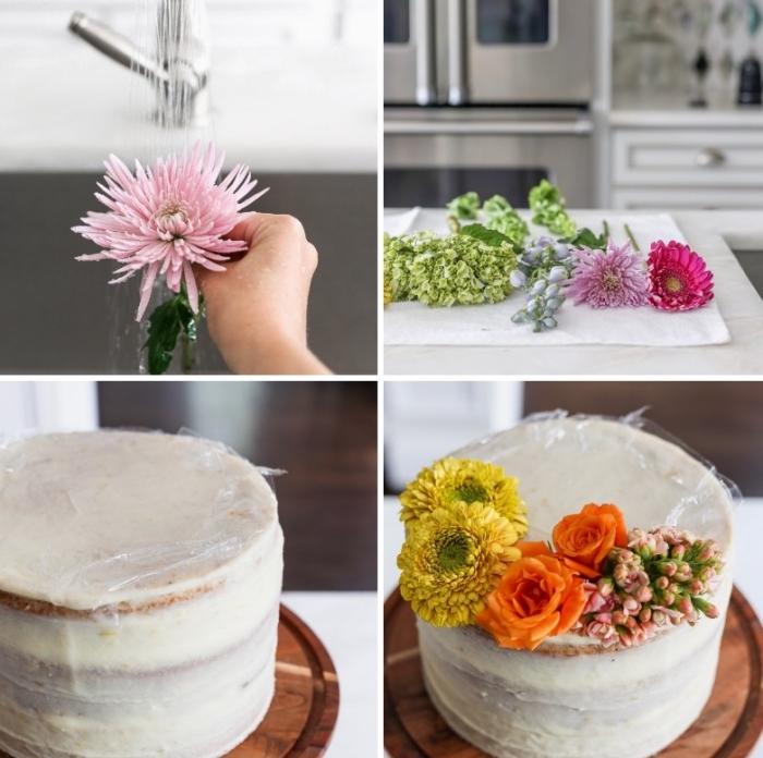 kuchen verzieren, blüten abstühlen, tortendeko mit blumen selber machen, tutorial