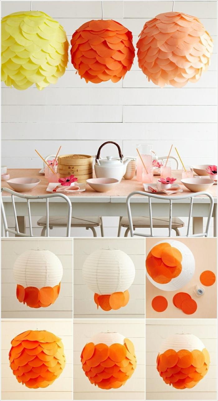 orange, gelbe und rosa Laterne, Bastelanleitung Laterne, wie Sie Zimmerdeko selber machen
