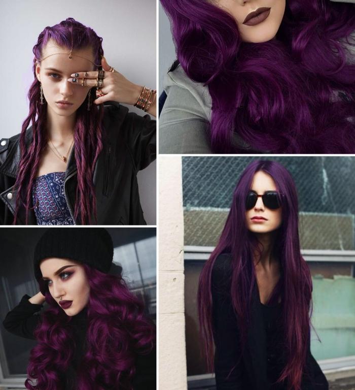 lila haarfarbe vier blider auf einmal collage von frauen mit violetten haaren