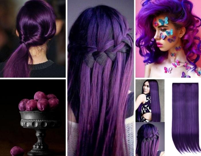 lila haarfarbe, lila haare ideen für coole frisuren bei ausgefallener haarfarbe, schmetterlinge, pflaumen