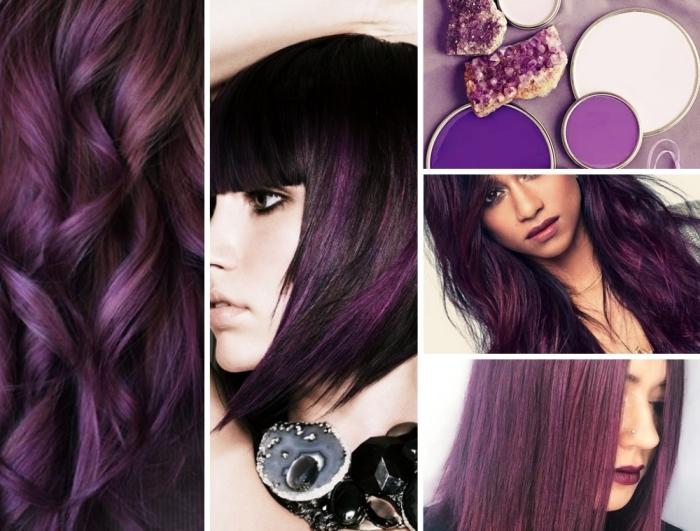 collage mit ideen zum thema haarfarbe lila, kristallen mit lila schattierungen, lila wellen in den haaren, glatte frisuren