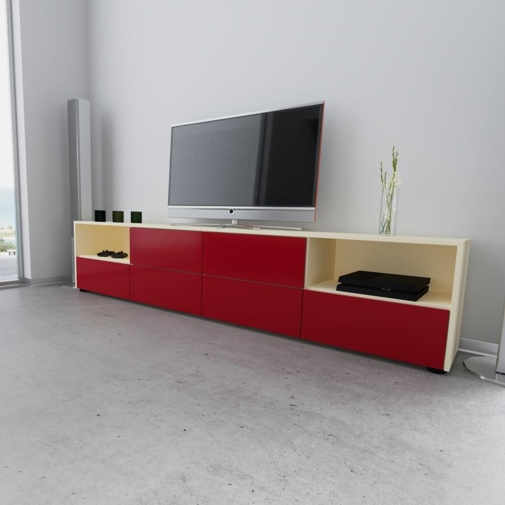 ein roter Lowboard mit einem Fernseher darüber, TV-Möbel